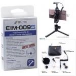 EIM-009S : 스마트폰용 고감도 지향성 미니 샷건 마이크로폰 (4극)퍼 윈드스크린 아답터 케이블 무지향성 테블릿 노트북