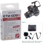 ETM-009S : 고감도 지향성 미니 샷건 마이크로폰(3극)카메라 캠코터 단일지향성 케이블 마운트 윈드스크린 파우치