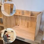 집중력가림판 고무나무 접이식 독서실책상 이동가능