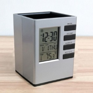 모던오피스 사각 시계겸용 필수 연필꽂이 CA164