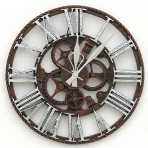 톱니바퀴시계-대[실버]벽시계