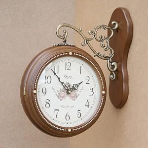 큐빅 양면시계 (월넛)