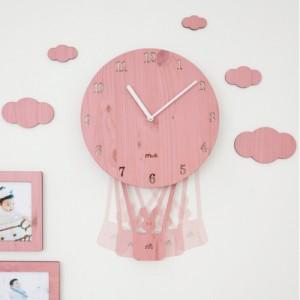 스카이풍선 무소음벽시계[핑크/그린/블루/라이트브라운 선택가능]
