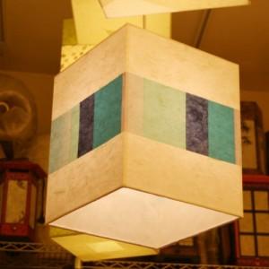 3특가 [한지등] 사각2호팬던트[파란조각패턴]