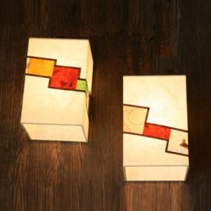 [한지등] 사각벽등[미색 줄조각보]