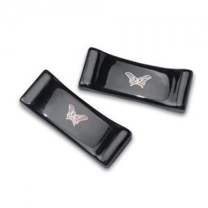 문양 수저받침-흑유 나비문 Set가격:16,000원