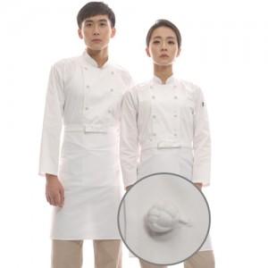 CD01WWT3 공용 백색더블매듭 긴팔조리복 (면혼방30수)