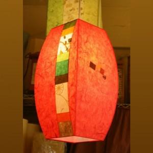 [한지등] 모던팬던트[빨강세로조각]-대각선 사이즈