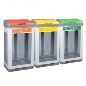 PRT-스틸 샌드 페달형 투명 분리수거함 100L
