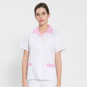 반팔 TC45수 쿨스판 위생복 셔츠(여성용) /핑크체크(FS-116)