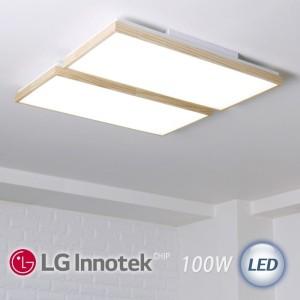 LED 로뎅 직사각 거실등 100W (원목)