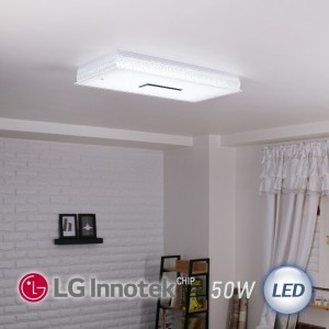 LED 히트 직사각 거실등 50W (화이트)