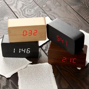 [우드탁상시계1295] 디지털시계/LED 우드탁상시계/무소음시계
