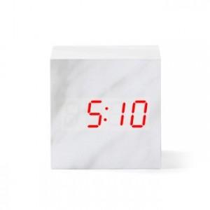[탁상시계/전자시계] 대리석시계(큐브)_화이트