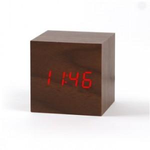 LED 우드탁상시계(큐브)_브라운
