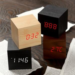 [전자시계] LED 우드탁상시계/디지털시계/무소음시계(큐브)