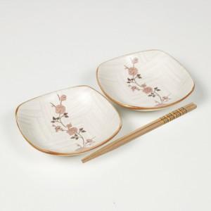 [그릇세트] 백야화 핑크 정사각 세트(中 2P)