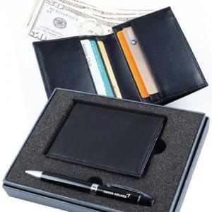 [명합지갑세트/볼펜세트] SIMPLIFE 심플라이프 소프트 소가죽 지폐수납 명함지갑+볼펜 세트