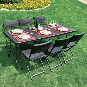 브로몰딩 접이식 테이블의자세트 (접이식테이블 1개, 접이식의자 6개) WYC-024가격:297,000원