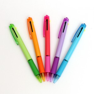 루네 파스텔 형광+니들2색 볼펜