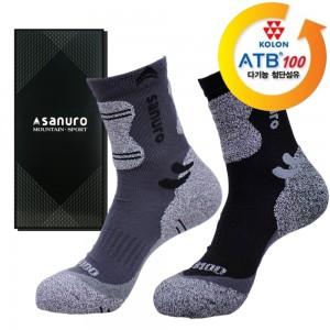 산으로 코오롱 ATB-100 등산양말(중목) 남성용 1족 (케이스포함)