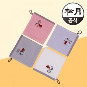 송월 스누피 블럭블랙34 고리 핸드타올
