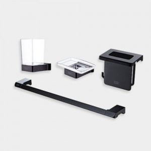 [FH0600 블랙무광] CUBE-P 액세서리 블랙 4품 세트 수건걸이,휴지걸이,칫솔꽂이,비누대