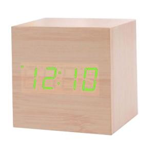 우드타입 LED 탁상용 미니시계(연두)/정사각/알람