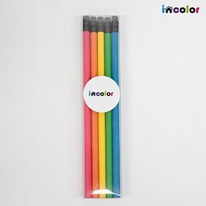 incolor 투명케이스 5본입 무광원형 연필세트