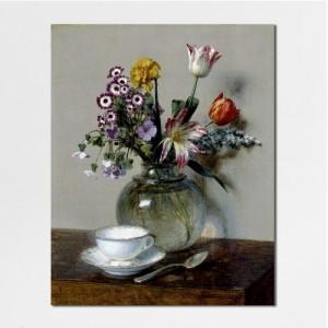 [캔버스액자] 라투르_찻잔과 봄 꽃다발