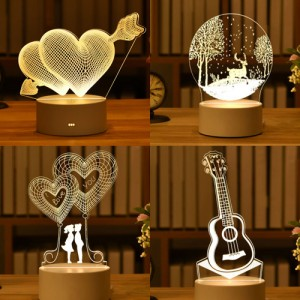 LED 원형 받침 조각 3D 무드등 (주문제작) (CA419)