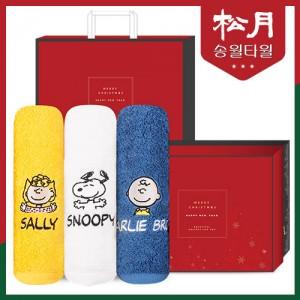 [송월타올] 스누피 피너츠 크리스마스 에디션 최고급 40수 코마사 180g + 쇼핑백 포함
