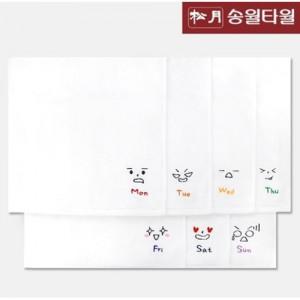 송월 귀여운 자수 핸드타올