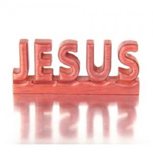 에코라이프 붉은 나무 원목 JESUS 장식 CAH435