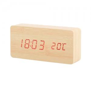 직사각 LED시계 (연브라운)