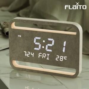플라이토 우드 네이쳐 인테리어 LED 탁상 벽시계 23cm