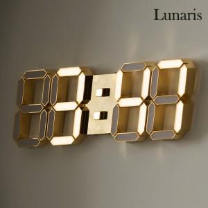 국산 루나리스 24K 금도금 샴페인골드 3D LED 벽시계 LG전구 38cm