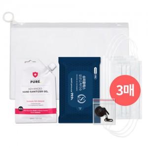 코로나 생활안심세트-VM501 (손소독티슈 10매 + 일회용마스크 3P + 손소독젤 30ml 1p )