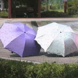 UV 자외선차단 우산 양산 플라워패턴 암막 3단 미니