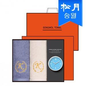 타올시계선물세트(카이저160g코마40수 2p + 욕실시계 1p)+쇼핑백 s
